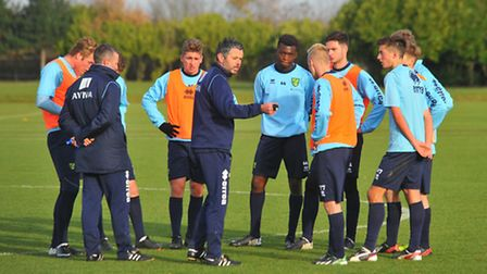Norwich City Football Club's under 18's training at Colney training ground. Jerry Gill centre. Photo
