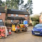 Cordons were in place at a house in Woodbridge on Wednesday