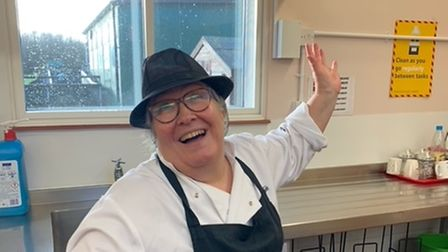 Cook manager Linda Baker, pictured in her final week at Astley Primary School.