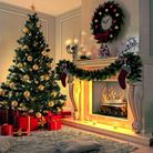 Christmas tree, presents and decorated fireplace create a cosy ambience.