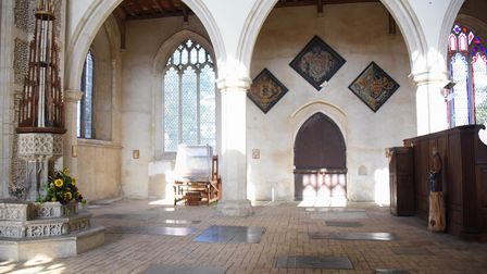 Weird Norfolk. Inside Worstead Church at the spot where the ghost of the Grey Lady was seen in a pho