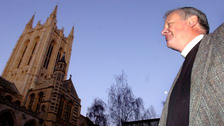 Former Dean of St Edmundsbury The Very Reverend James Atwell is pictured at the cathedral in Bury St Edmunds.