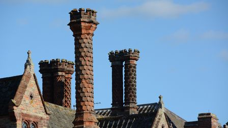 A few of many elaborate chimneys on the roof of Oxburgh Hall, Norfolk