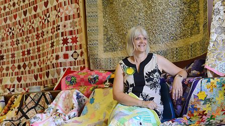 Ros Stavely at the Samphire Quilters exhibition. Picture: Ian Burt
