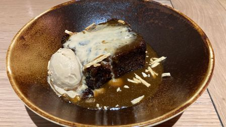 Brown pudding on a brown bowl