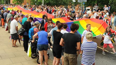 The Norwich Pride parade. The 50 metre long rainbow flag from Exeter Pride. Picture: Denise Bradley