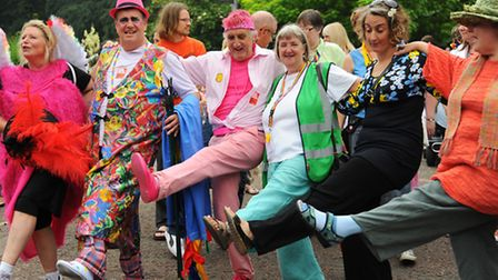 Getting ready for the Norwich Pride parade. Picture: Denise Bradley