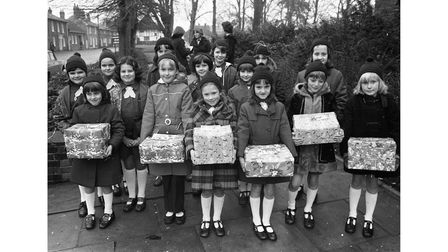 Hadleigh Brownies delivering Christmas parcels to elderly people