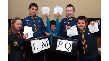 Hogarth Road Scouts in Ipswich starting to sort the Scouts' Christmas post in 2006