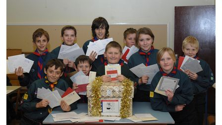Some of the 3rd Stowmarket Scouts delivering Christmas cards in 2008