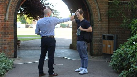 Felsted School staff carry out temperature checks as senior pupils are back in school. Picture: Fels