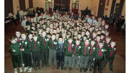 The Felixstowe Cubs celebrate Christmas at Hallowtree Activity Centre in 1996