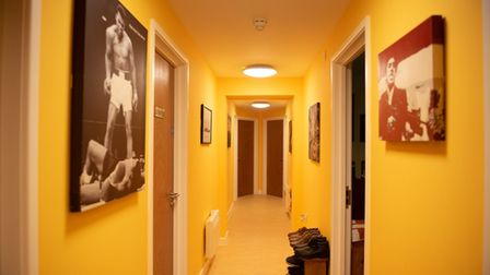 Inside hostel with yellow walls