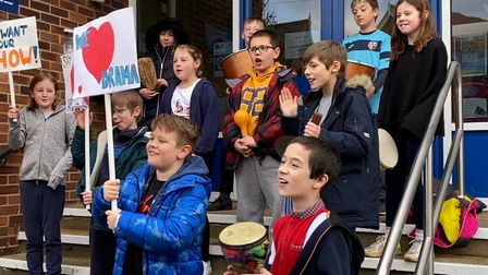 A scene from Buxton Primary School's festive video production, The Cancellation Before Christmas.