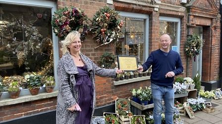 Tudor Rose florist was also a runner-up in the Bury St Edmunds Christmas window contest