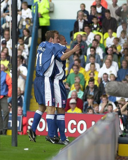 Jermaine Wright and Marcus Stewart celebrate the winner at Leeds as Town won 2-1 at Elland Road in S