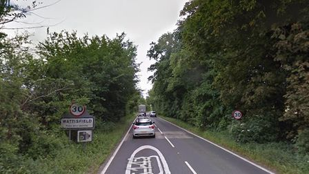 The A143 at Wattisfield is currently blocked after a collision