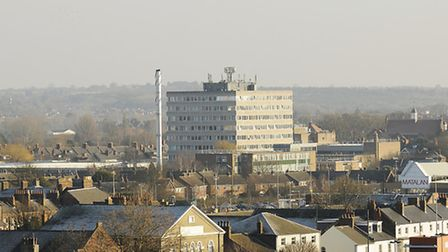 A view of the College of West Anglia from the south tower of King's Lynn Minster (St Margaret's Chur
