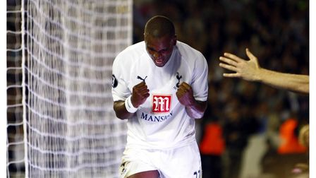 Tottenham Hotspur's Darren Bent celebrates his goal during the UEFA Cup First Round First Leg match