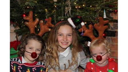 Ruth Davies's three young children getting in the festive spirit