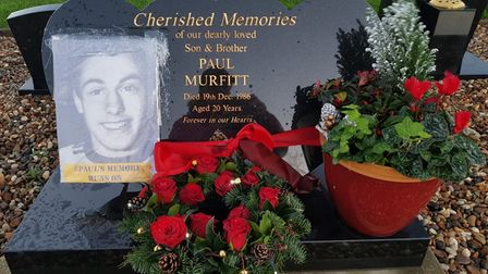 Paul Murfitt's grave at the weekend after a Christmas wreath was placed on it.