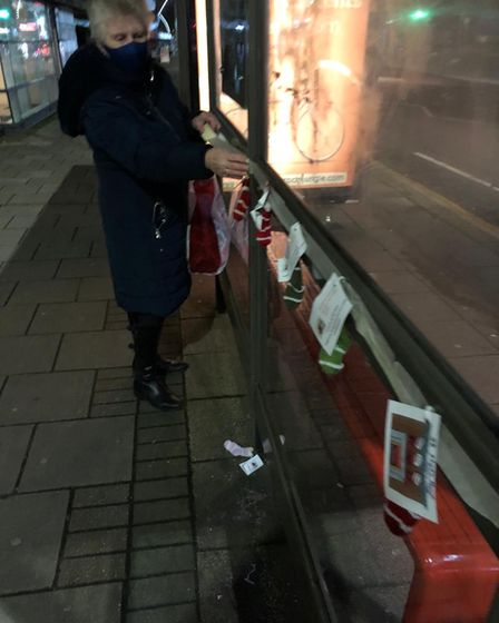 Stockings are put along a bus stop in Chadwell Heath.