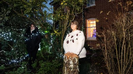 Dawn Monks, manager of Woodfield Court Residential Home with their new lights after vandals ripped d