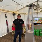 Mr Sandford pictured in the marquee outside the pub.