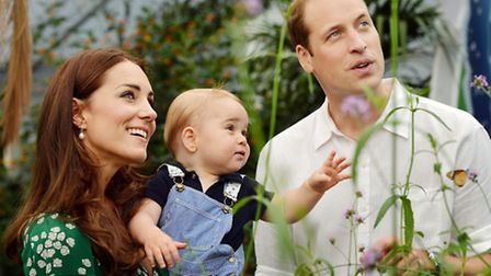 The Duke and Duchess of Cambridge and the Prince during a visit to the Sensational Butterflies exhib