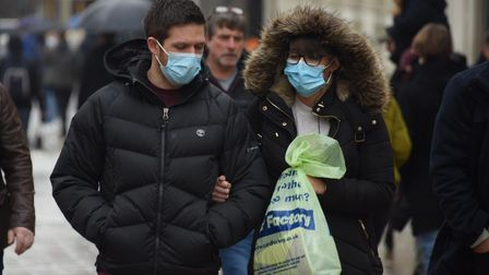 Christmas shoppers in face masks out in Norwich. Picture: DENISE BRADLEY