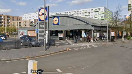 The front of a Lidl supermarket store viewed from Ripple Road in Barking.