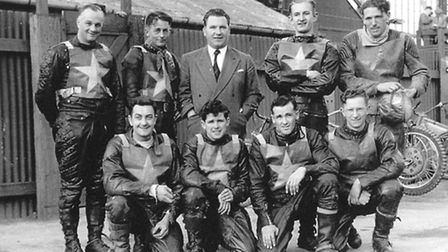 The 1953 Norwich team. From left to right, back row: Roy Craighead, Aub Lawson, Fred Evans (manager)
