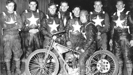 The 1950 Norwich speedway team. From left to right: Phil Clarke, Jack Freeman, Johnny Davies, Fred R