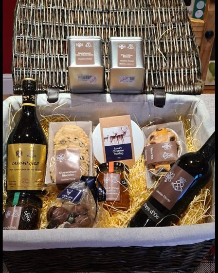 The hampers have been created by The Ludlow Farm Shop in Shropshire and each product inside is branded with the cap badges...