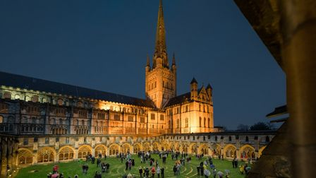 Carols in the Cloister, socially distanced in December 2020. Photograph: Norwich Cathedral/Bill Smit