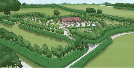 Artists impression of the memorial park and crematorium which has been approved at Ellough near Becc