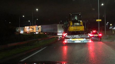 Lorries queuing at Harwich