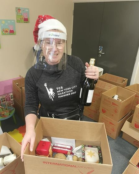 Melanie Sturman helped to deliver around 150 Christmas hampers to residents in Thetford.