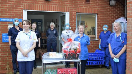 Staff at the North Walsham War Memorial Hospital receiving gifts and hampers from the hospital's Friends group..
