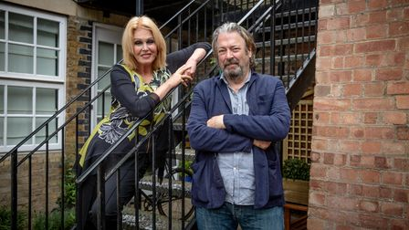 Joanna Lumley and Roger Allam pictured on a fire escape