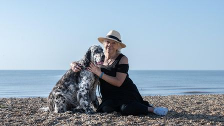 Jan Etherington with her dog Jagger on Walberswick beach Picture: SARAH LUCY BROWN