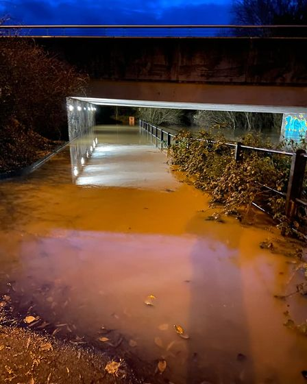 An underpass in Stowmarket is completely flooded after the River Gipping burst its banks.