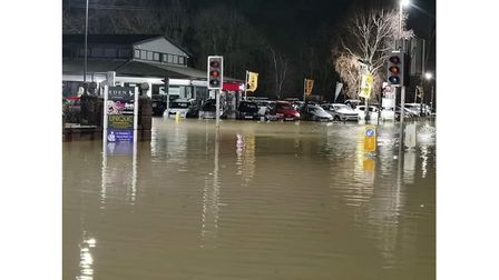 The A1066 in Diss underwater