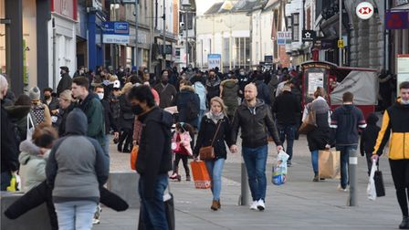 Crowds of Christmas shoppers on Westgate Street, Ipswich