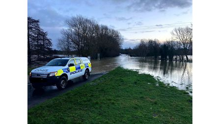 The B1062 near Homersfield is closed due to the flooding.