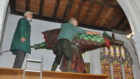 Snap the dragon moves into his new home of St George Tombland church.