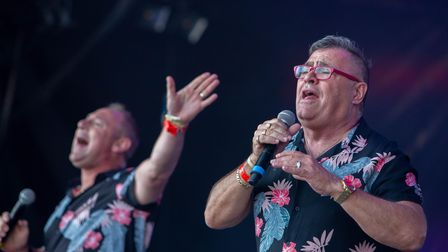 Black Lace performing at Let's Rock Norwich 2018 at Earlham Park . Picture: LEE BLANCHFLOWER