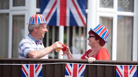 Dean and Lynne Ward getting into the spirit at the Brunswick Road street party Picture: SARAH LUCY B