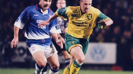Neil Adams in derby action for Norwich City back in 1996. Picture: Archant