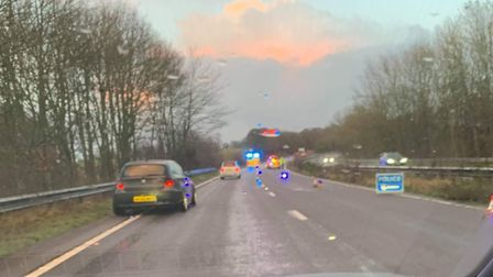 Collision scene on the A12 at Wickham Market